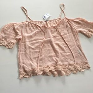 NWT pale pink open shoulder top